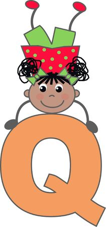 a girl with letter Q Illustration