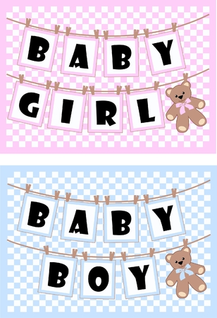 for boys: baby cards for boys and girls Illustration