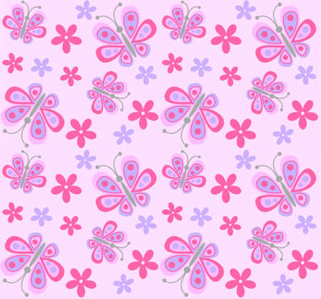 fabric label: seamless flower and butterfly pattern