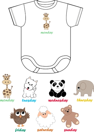baby bodies for every day in a week Vector