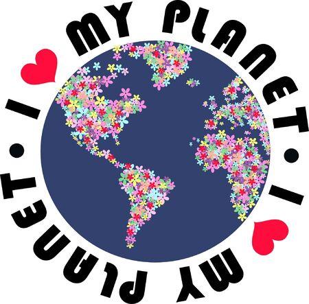 amor al planeta: Me encanta mi planeta  Vectores