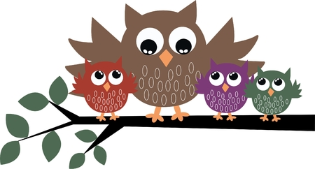 a cute owl family Vector
