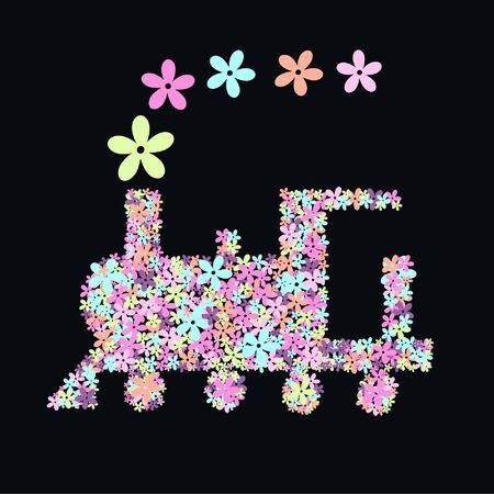 flower train Vektoros illusztráció