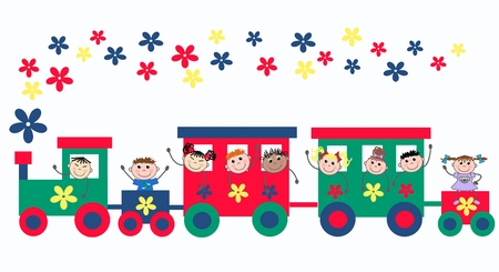 train wagons with mixed kids Illustration