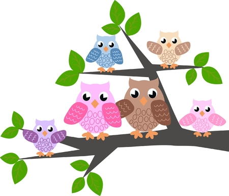 wrapping animal: a cute owl family