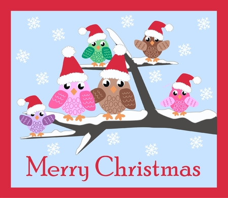christmas card with a cute owl family