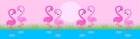 a web header with flamingos Vector