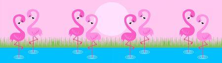 flamingos: a web header with flamingos Illustration