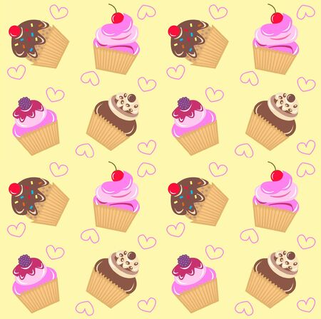 seamless cupcake pattern Stock Vector - 8457350
