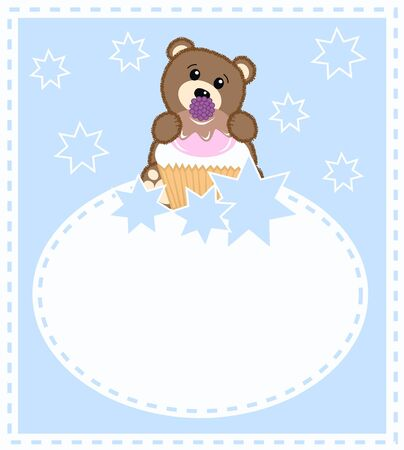 a cute little brown bear a celebration card for boys Vector