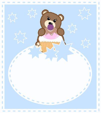 a cute little brown bear a celebration card for boys Vector