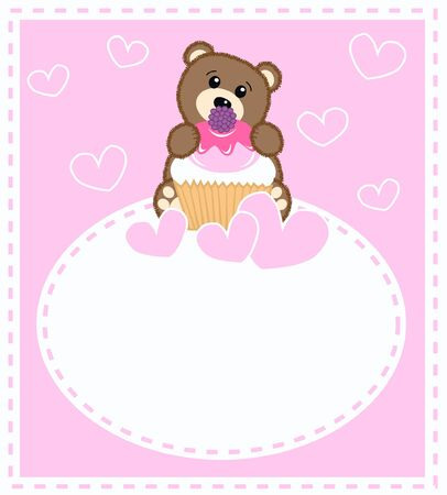 a cute little brown bear a celebration card for girls Stock Vector - 8517685