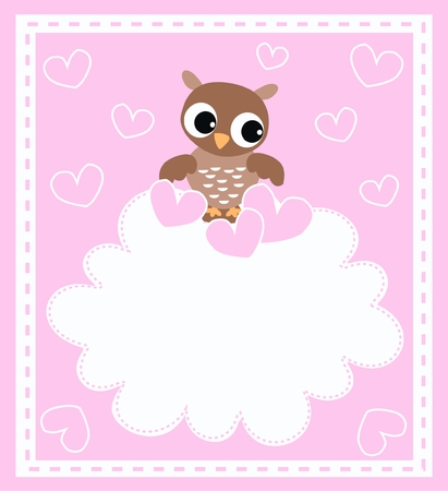 a cute little brown owl Illustration