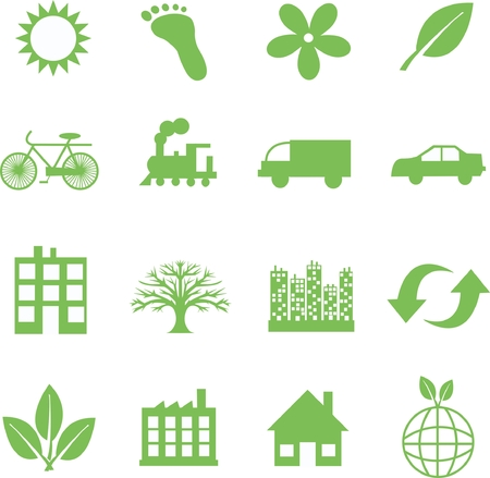 sun icon: green ecology symbols