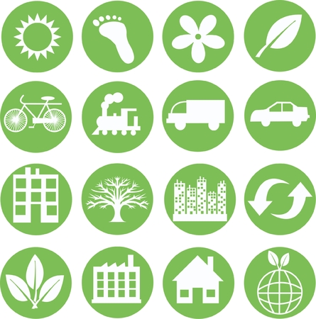 green ecology icons Illustration
