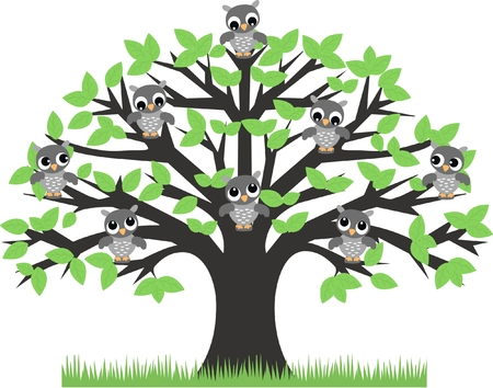 owls: owls sitting in a tree Illustration