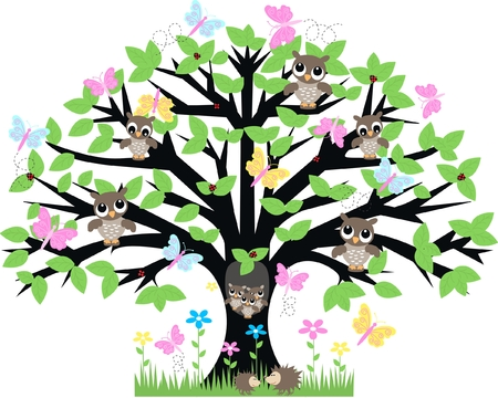 owl symbol: lot of animals in a tree