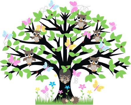 buho sabio: muchos animales en un �rbol