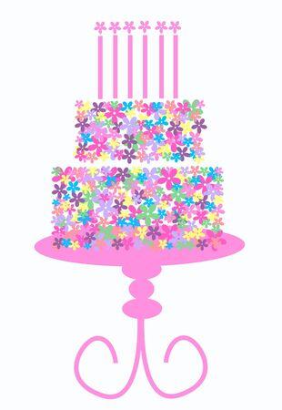 birthday cake full of flowers Stock Vector - 8560087