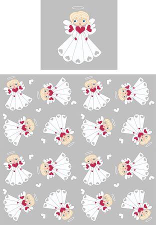 seamless angel pattern Vector