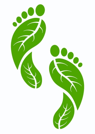 logo recyclage: verts pieds humaines Illustration