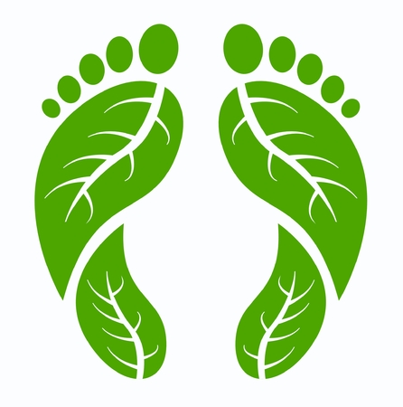 green footprint: green human feet