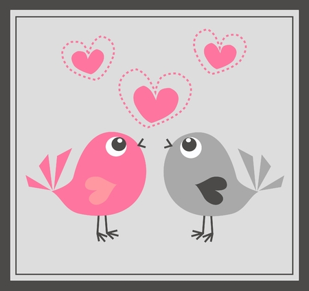 two cute birds in love Stock Vector - 8607725
