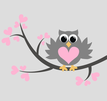 a cute little owl in a tree Illustration