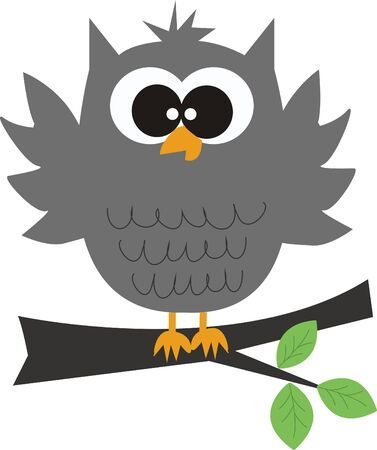 a grey cute owl sitting on a branch Vector