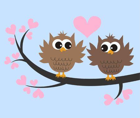 amistad: dos búhos lindos en el amor
