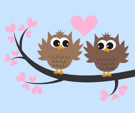 love image: two cute owls in love