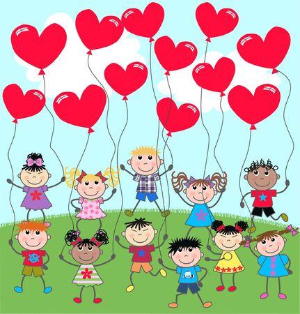 niños étnicos mixtos Ilustración de vector