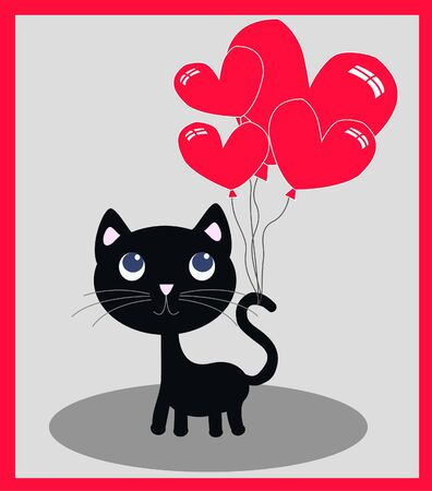 a cute little cat with balloons Vector