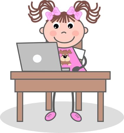 computer girl Stock Vector - 8665190