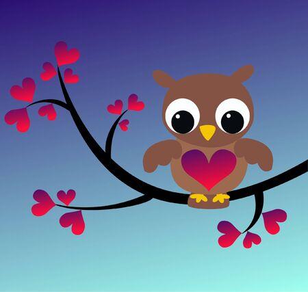 lady bird: owl sitting on a branch
