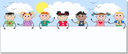 kids school: mixed ethnic kids holding a placard Illustration