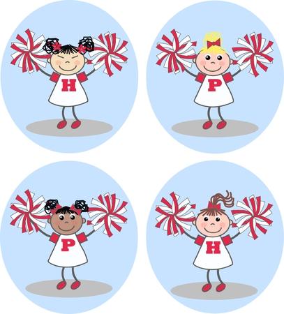mixed ethncic cheerleader girls Stock Vector - 8714185