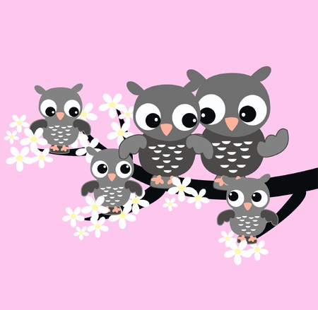 cute images: owl family Illustration