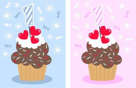 1 year anniversary: happy  birthday Illustration
