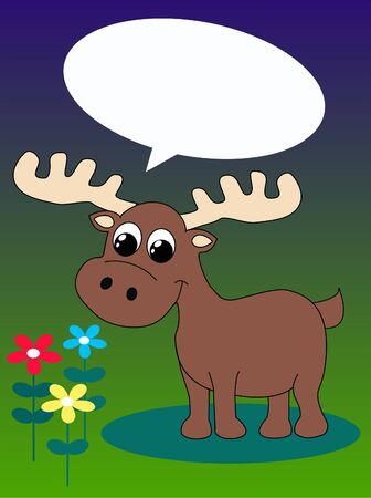 a moose with a talk bubble Stock Vector - 8809224