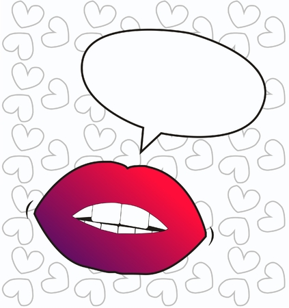 sexy hot couple: lips with a talk bubble Illustration