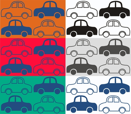 seamless car pattern in six different color combinations Stock Vector - 8858009