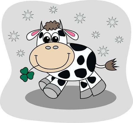 a cute little cow Vector