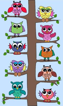 owl tree Vector