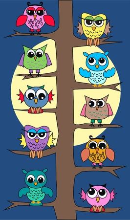 cute images: colourful owls sitting in a tree Illustration