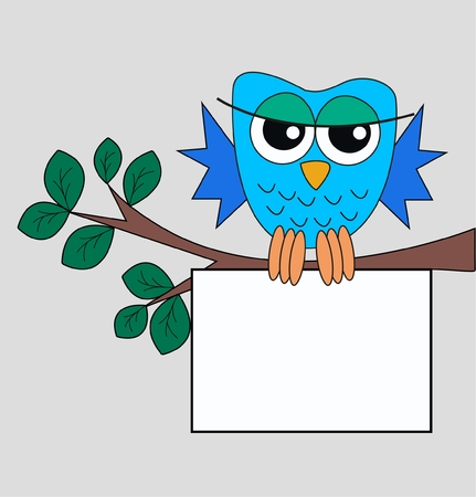 blogg: a blue owl with a sign