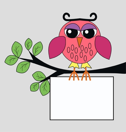 blogg: a colorful owl with a sign