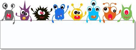 monstruos coloridas celebración un banner
