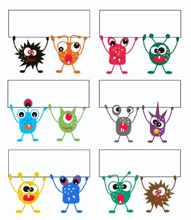 blogg: colorful monsters holding a banner