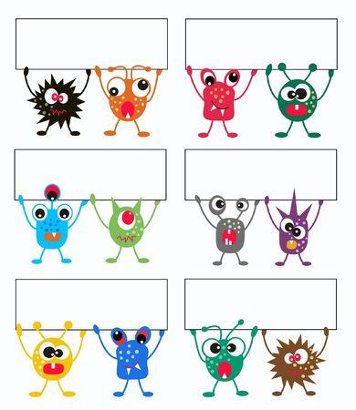 ni�os sosteniendo un cartel: monstruos coloridas celebraci�n un banner Vectores
